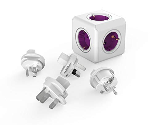 Travel-Cube ReWirable Original, power cube met 5 stopcontacten, meervoudig stekkerdoos met reisadapter voor DE/FR, UK USA AUS, zonder kabel, magenta wit