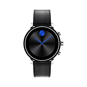 Movado Connect 2.0 Unisex Powered with Wear OS by Google Stainless Steel and Black Leather Smartwatch, Color: Black (Model: 3660028)