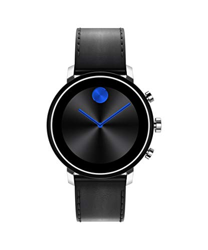 Movado Connect 2.0 Unisex Powered with Wear OS by Google Stainless Steel and Black Leather Smartwatch, Color:...