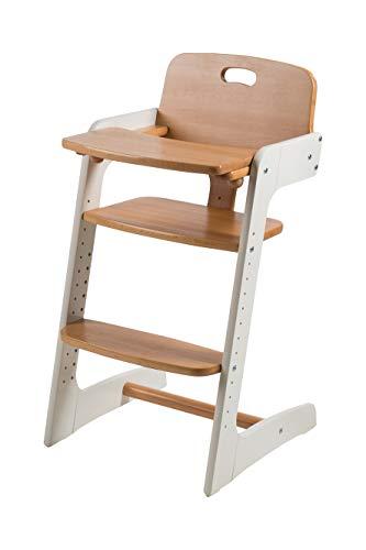 roba Treppenhochstuhl 'Kid Up', Kinderhochstuhl aus Massivholz, weiß/natur, mitwachsender Hochstuhl für Babys und Kinder