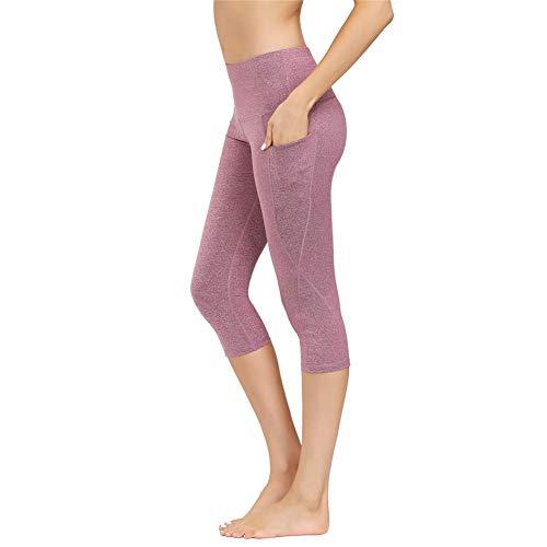 IceUnicorn Damen Sport Leggins Shorts Hohe Taille Tights 3/4 Yogahose Blickdichte Kurz Laufhos Fitness Hosen Jogginghose mit Taschen Short(3/4 Hanf Lila, XXL)