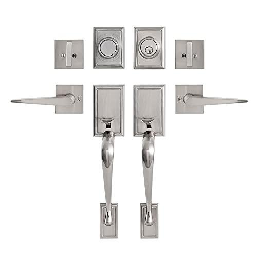 GUA OYH Double Door Handleset for Entryway Satin Nickel Front Door Handle Keyed Dummy Door Lock Set with Handle Lever for Front Door or Office Door, Satin Nickel (for Double Door) (L361516-S-S117)