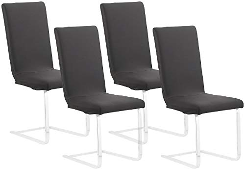 infactory Stuhlbezug: 4er-Set Stretch-Stuhlhusse mit Lehne, Oeko-TEX® Standard 100, schwarz (Stuhlüberzüge)