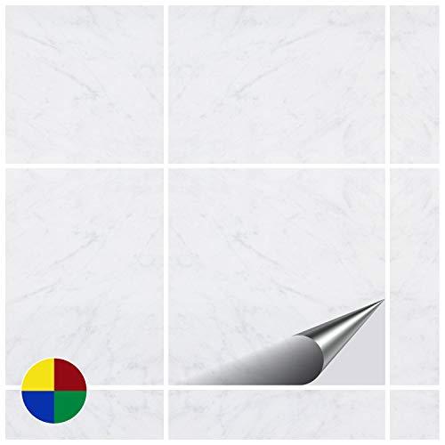 FoLIESEN Fliesenaufkleber Küche u. Bad-15x15 cm Marble-20, Spezial-PVC-Folie, Dekor White Marble, 20 Stück