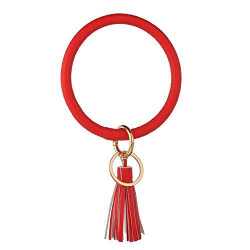 NaisiCore 1PC Wristlet Schlüsselanhänger-Armband PU-Leder-Armband-Schlüsselanhänger Kreis Schlüsselhalter einfach zu halten Tasten am Handgelenk für Frauen-Mädchen-Kind (D)