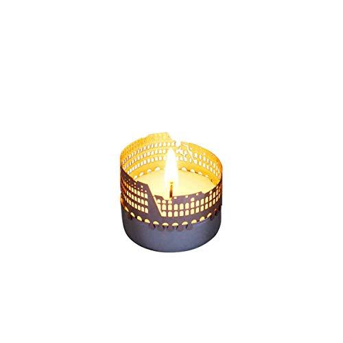 13gramm Colosseum-Skyline Windlicht Schattenspiel Souvenir, 3D Edelstahl Aufsatz für Kerze inkl. Karte