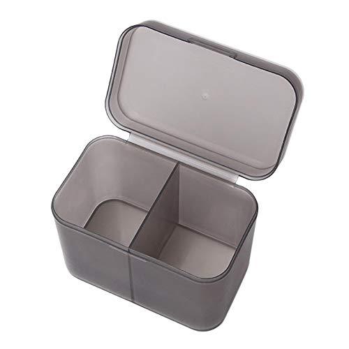 FITYLE Cepillos de Maquillaje de Doble Compartimento Independiente Almohadillas de algodón Titular Accesorios cosméticos Organizador - Gris