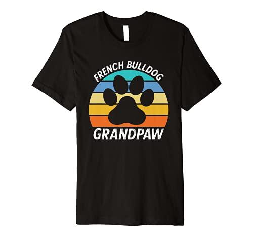 Mens French Bulldog Grandpa Funny Grandpaw Frenchie Dog Retro Premium T-Shirt