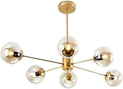 Mid Century Adjustable E26 Antique Pendant Light 6-Lights Branch Vintage Metal Chandeliers Ceiling Lights for Bedroom Restaurant Living Room-Amber 6-Lights CCSUN Nordic Glass Ball Sputnik Chandelier