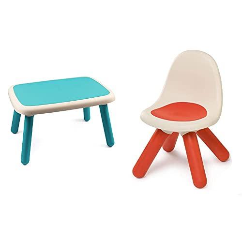Smoby Mesa Infantil Azul (880402) + Kid Silla Infantil, Plástico, con Respaldo para Habitación Infantil O para Casa De Juegos, Color Rojo (880103)