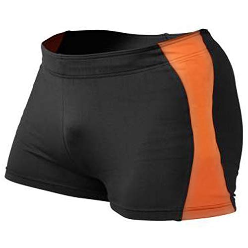 MUSCLE ALIVE Mens Bodybuilding Shorts Tights Polyester and Spandex Size M Plain Black With Orange