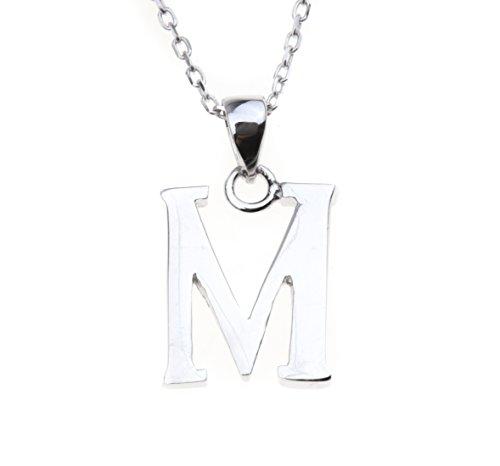 NYE NEIL JEWELRY argento 925 Ciondolo lettera M collana 18 pollici