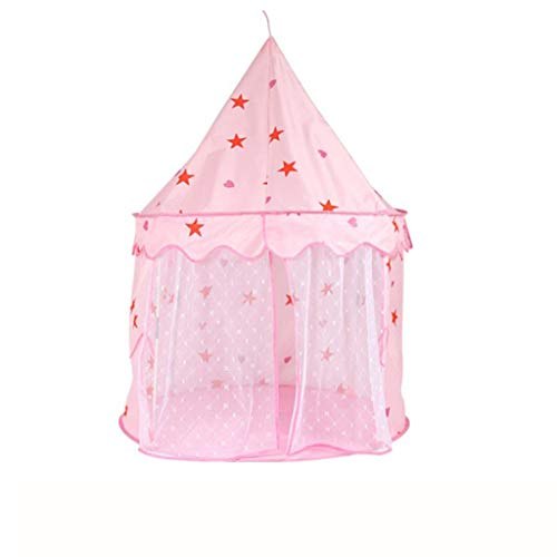 C-J-Xin Indoor Infant Play Tent, Outdoor Children's Game Tent Folding Wigwam Tent/Yurt Shape Design/Blue, Pink/110 * 120CM Play Tents (Color : Pink, Size : 110 * 120CM)