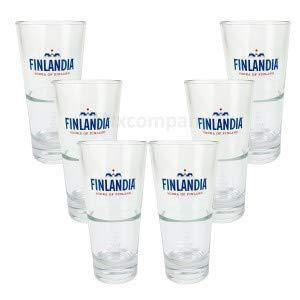 Finlandia Vodka Wodka Glas Gläser Set - 6X Gläser 2,4cl geeicht Bar Cocktail Longdrink