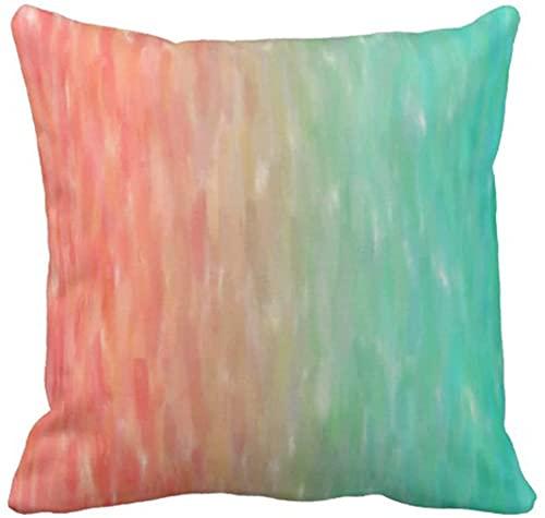 Funda de almohada azul melocotón, coral, turquesa, acuarela, naranja, rosa, aguamarina, decorativa, decoración del hogar, 45,7 x 45,7 cm