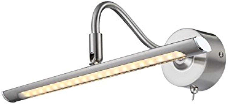LED Bilderleuchte mit Schalter Chrom schwenkbar Wandleuchte beweglich (Spiegelleuchte, Spiegel Lampe, Bildbeleuchtung, Wandlampe, Wandstrahler, inkl. Leuchtmittel, 31 x 10,5 cm, warmwei, EEK A+)