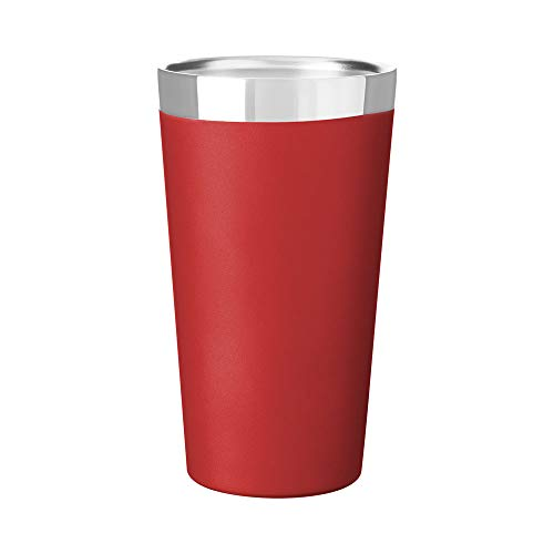 Hot or Cold - 16.9 oz. Double Wall Stainless Steel Thermal Vacuum Copper Insulated Travel Pint Tumbler - Matte Red