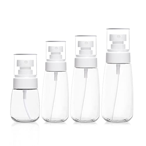 KJDSE 4 botellas con pulverizador, botellas vacías para rellenar, botellas de viaje transparentes, botellas vacías para acondicionador, loción, artículos de aseo