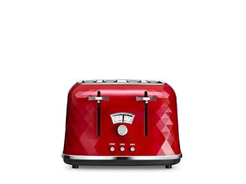 De'Longhi 0176141851 DeLonghi CTJ4003R Brilliante Four-Slice Toaster, 1800 W, Red, Plastic