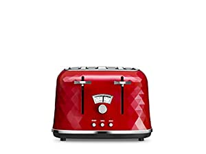 De'Longhi 0176141851 DeLonghi CTJ4003R Brilliante Four-Slice Toaster, 1800 W, Red, Plastic