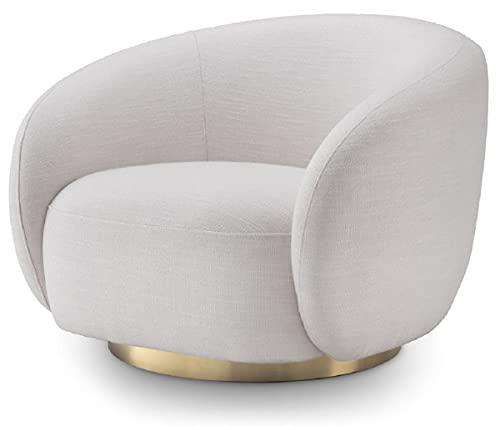 Casa Padrino sillón Giratorio de Lujo Blanco/latón 96 x 85 x A. 74 cm - Sillón de Salón - Muebles de Salón - Calidad de Lujo