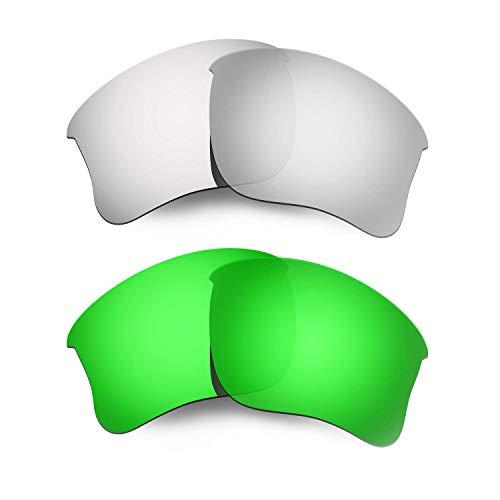 HKUCO Plus Mens Replacement Lenses for Oakley Flak Jacket XLJ Sunglasses Titanium/Emerald Green Polarized