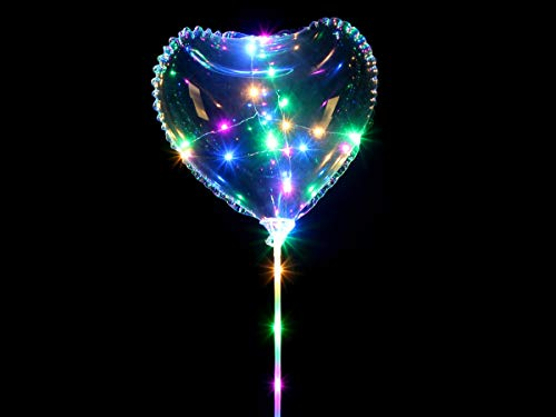 Alsino Led Herz Luftballon Party Helium Ballon Bal-012 - inklusive Batterien und Lichterkette