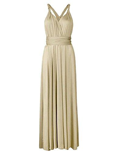 Sexyshine Damen Rückenfreies Kleid MEHRWEG Wrap Neckholder Cocktailkleid Bandage Brautjungfer Langes Kleid - Orange - Groß