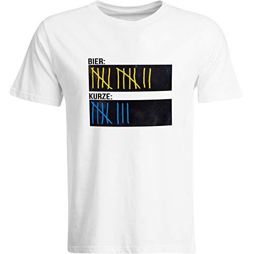 T-Shirt Bier Kurze Strichliste JGA Tafel Beschreibbar Kreide Saufen Mische Schnaps Alkohol Saufshirt Party Feiern Funshirt Mallorca (Schwarz/Navy/Weiß), Farbe: Weiß, Größe: XXX-Large