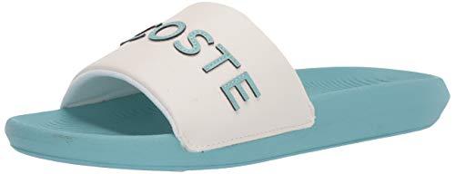Lacoste Women's Croco Slide 120 7 U CFA Sandal, Off White/Green, 8 Medium US