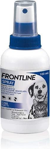 Frontline Spray 100 ml, Antiparassitario per Cani e Gatti e Cuccioli dal Secondo Giorno di Vita, Antiparassitario Lunga Durata, Elimina e Protegge da Zecche, Pulci e Pidocchi, Antipulci Spray 100 ml