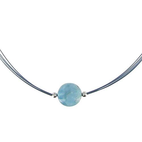 Joyas Les Poulettes - Collar Perla de Larimar de 13 mm y Cinco Cables con mosqueton de Plata de Ley