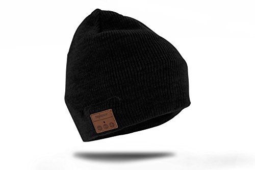 Tenergy Wireless Bluetooth Beanie Hat with Detachable Stereo Speakers & Microphone, Fleece-Lined Unisex Music Beanie for Outdoor Sports, Basic Knit (Black)
