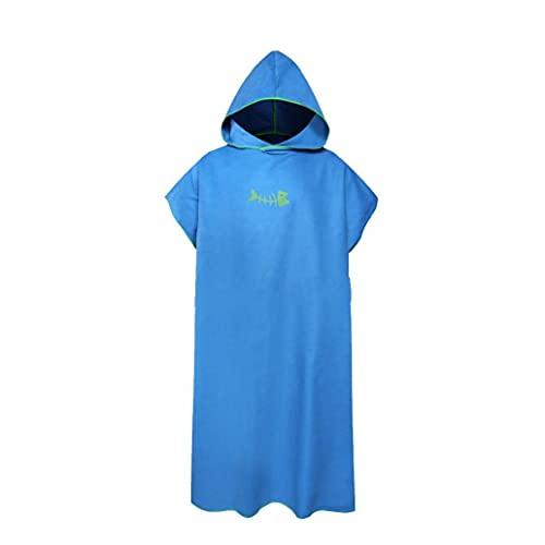 cdzhouji Albornoz De Secado Rápido Cambio De Toallas para El Adulto Cambio del Traje De Microfibra Cómodo Poncho Surf Sand Beach Adultos Cambiar El Traje con Capucha Trajes Cambio Suministros Azul
