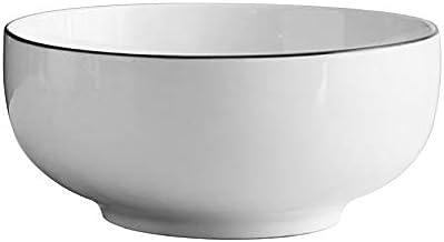 Simple European Style Ceramic Rice Bowl Black Stripe China Bone Salad Bowl Soup Bowl