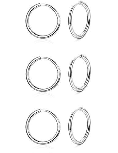 Sllaiss 925 Sterling Silber Kleine Creolen für Damen 1.6MM Dünne Runde Endlose Creole Ohrringe Set Hypoallergen
