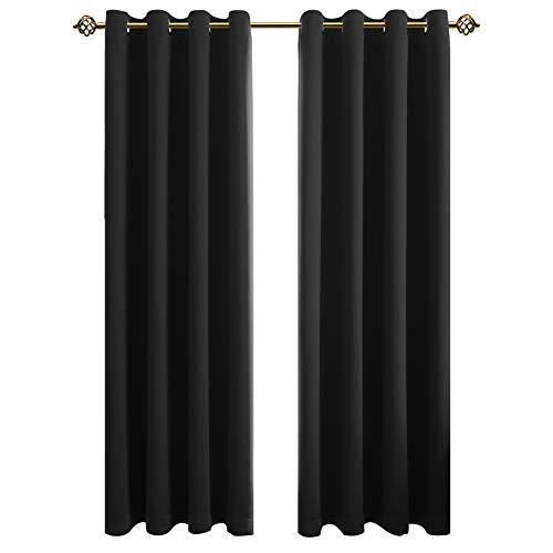 FLOWEROOM Blickdichte Gardinen Verdunkelungsvorhang - Lichtundurchlässige Vorhang mit Ösen für Schlafzimmer Geräuschreduzierung Schwarz 160x132cm(HxB), 2er Set