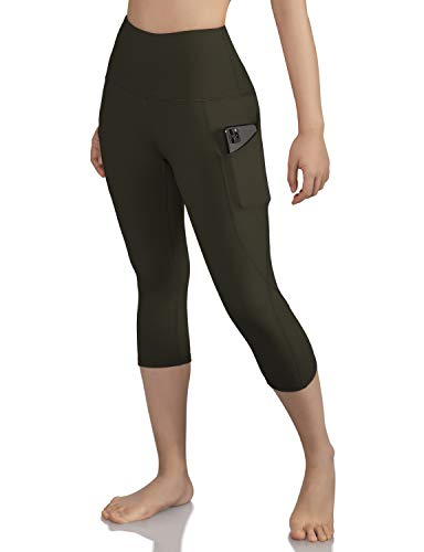 ODODOS Women's High Waist Yoga Capris with Pockets,Tummy Control,Workout Capris Running 4 Way Stretch Yoga Leggings with Pockets,Olive,Large