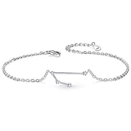 Clearine Armkette Sternzeichen 925 Sterling Silber CZ 12 Sternbild ''Widder'' Einfach Stil Armband für Damen Mädschen