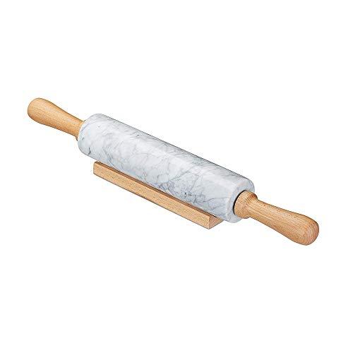 IWILCS Nudelholz Marmor, Teigroller zum Kochen mit Ablage, Rolling Pin 46cm schwere Backrolle