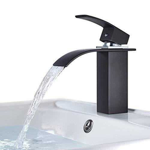 BONADE Grifo de Lavabo Cascada Negro Grifería Monomando para Lavabo en el Baño, Agua Fria y Caliente Disponible, Latón