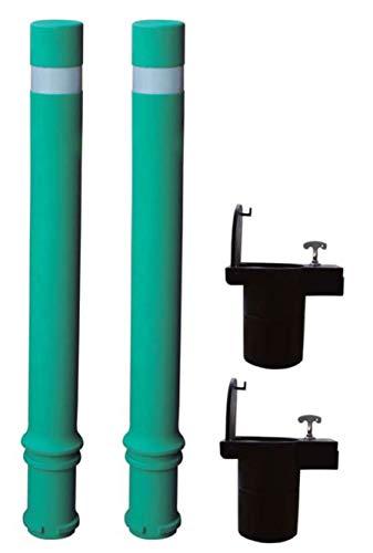 Bolardo flexible de alta resistencia y flexibilidad verde. Bolardo flexible A-Flex con base extraíble de plástico (2- Bolardos)