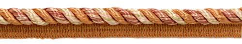 DecoPro Buntes Baumwollband mit Nählippe, 10 mm, Camel Gold, Hellrosa, Kürbis/Terra Cotta Cord (0038 ml), Farbe: Desert Sand – PR21 (Preis pro Meter)