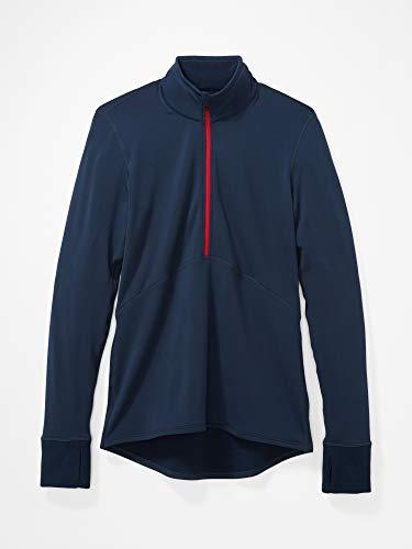 Marmot Camiseta Interior Polartec Baselayer de Media Cremallera para Mujer, Mujer, Camiseta, 82180, Azul Oscuro, Medium