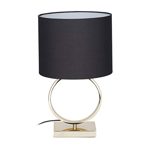 Relaxdays Lámpara de Mesa, Pantalla Redonda, Diseño, E27, Mesilla de Noche, Negro/Dorado, 46 x 28...