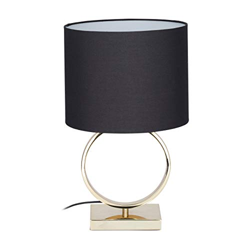 Relaxdays tafellamp zwart, ronde lampenkap, origineel design, E27, bedlampje, HxD: 46 x 28 cm, zwart/goud