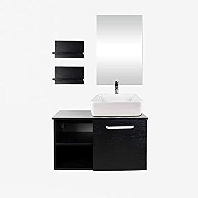 28 Inch Wall Mounted Bathroom Vanity and Tempered Glass Sink Combo with Mirror and ORB 1.5GPM Water Saving Faucet and Pop-up Drain Set Modern Lavatory Floating Vanity with Counter Top Sink