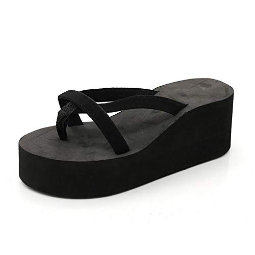 JFFFFWI Zapatos de Mujer Chanclas Sandalias de cuña Zapatillas de Playa Antideslizantes Tacones Altos de Suela Gruesa, Negro, 34