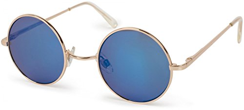styleBREAKER runde Sonnenbrille mit schmalem Metall Gestell, Retro Design, Bügel mit Federscharnier, Unisex 09020065, Farbe:Gestell Gold / Glas Blau verspiegelt