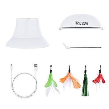 DADYPET Jouet pour Chat, Jouet Electronique Automatique, Jouet Chats Interactif 2 en 1 avec Plume et Point de Lumière Rouge - Rechargeable par USB (Câble Inclus)